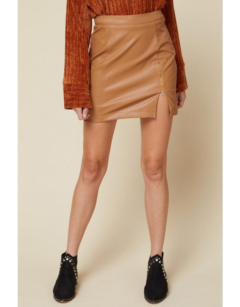 Zipper Detail Pleather Skirt - Camel