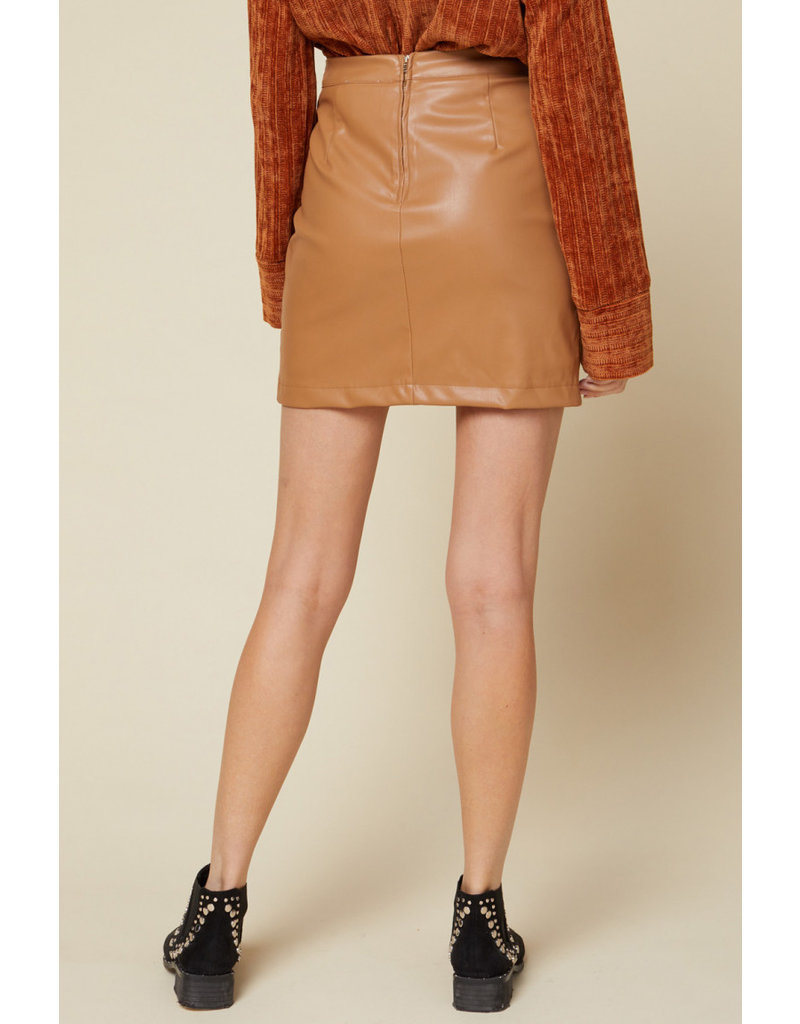 Zipper Detail Pleather Skirt - Camel