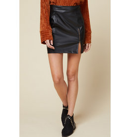 Zipper Detail Pleather Skirt - Black