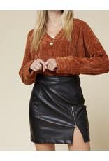 Zipper Detail Pleather Skirt - Black