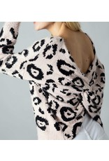 Leopard Twisted Back Sweater - Pink