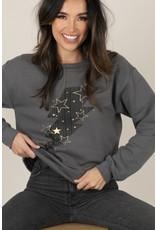 Space 46  Bolt/Stars Sweatshirt - Charcoal