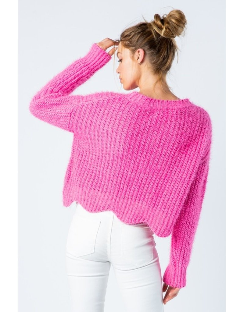 Scalloped Hem Mohair Sweater
