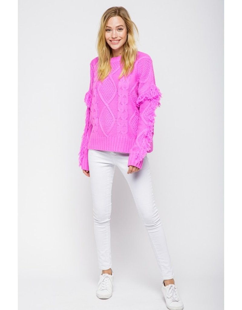 Fringe Sleeves Sweater - Orchid