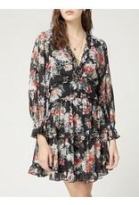 Open Back Floral Dress - Black