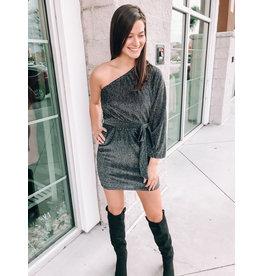 D15158 One Shoulder Party Dress - Black