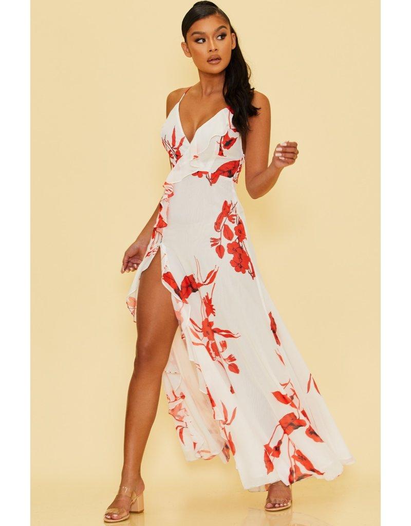 Red Florals Maxi Dress