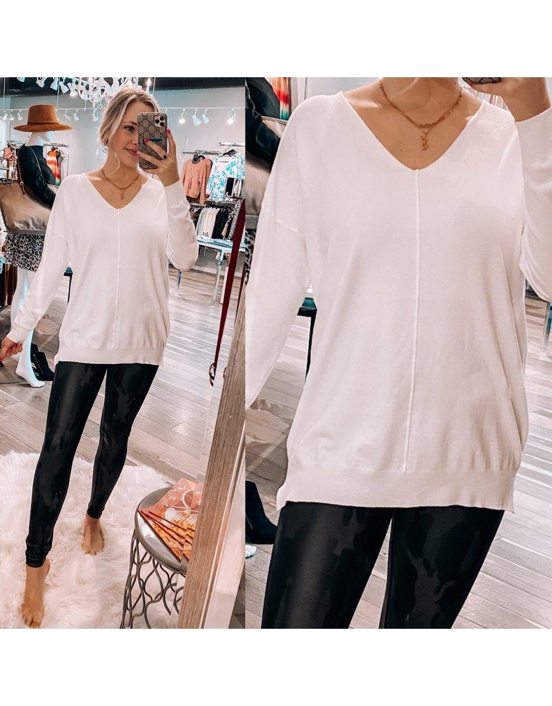 Main Strip Lightweight Hi/Low Sweater - White