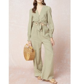 Polka Dot Linen Pants - Olive