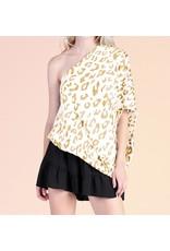 One Shoulder Leopard Top - Gold