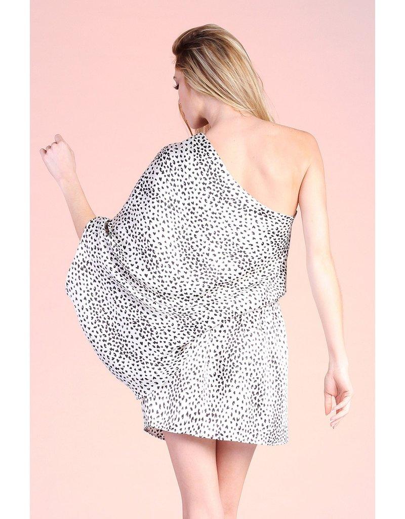 One Shoulder Cheetah Dress - Ivory