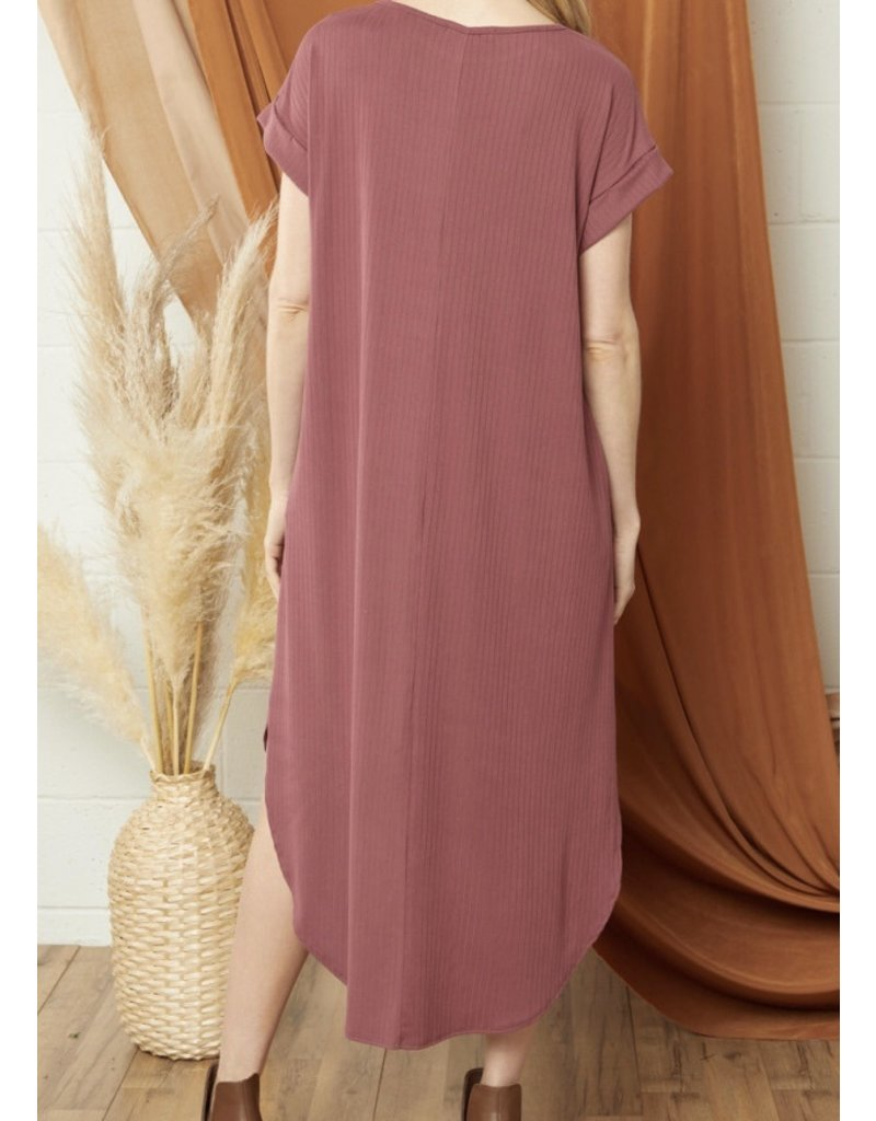 Ribbed Midi Dress - Marsala