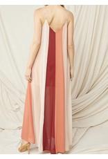 Color Block Maxi Dress - Burgundy