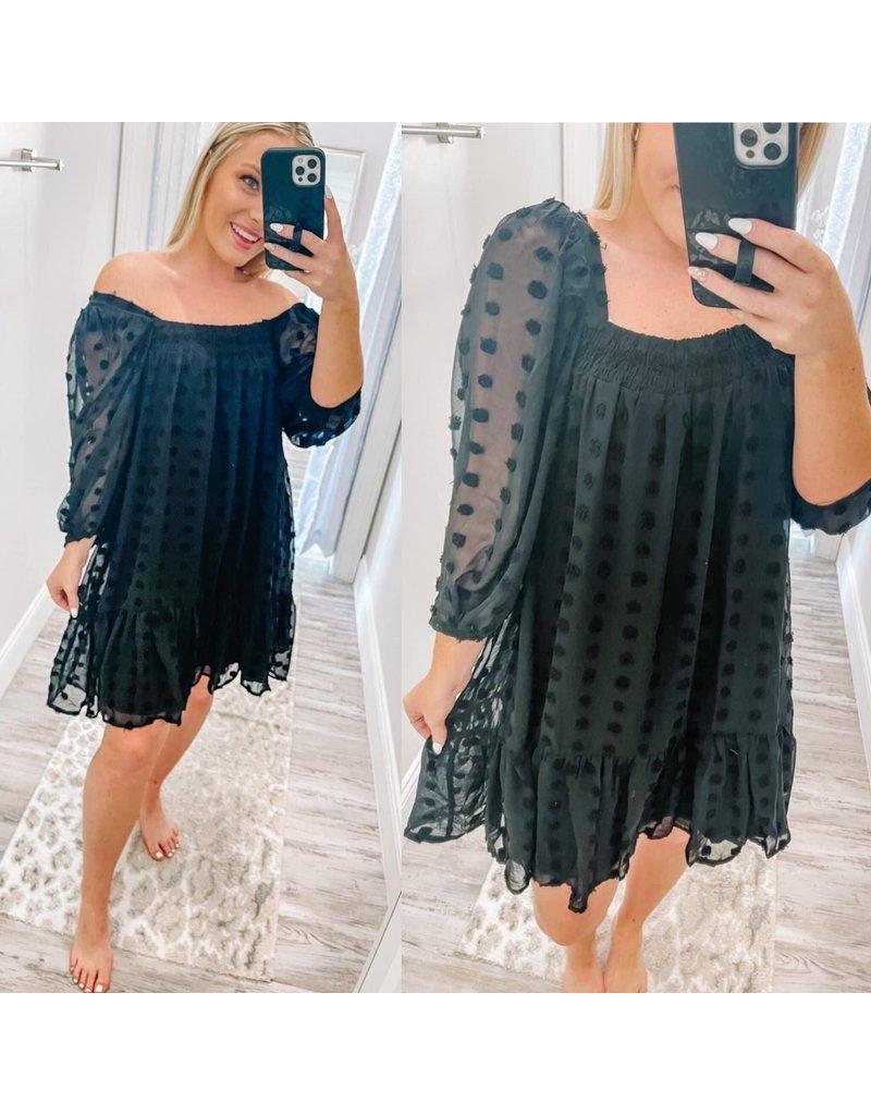 Puff Sleeves Dot Dress - Black