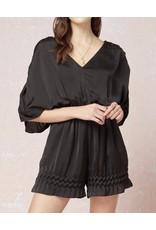 Ruching Sleeves Satin Romper - Black