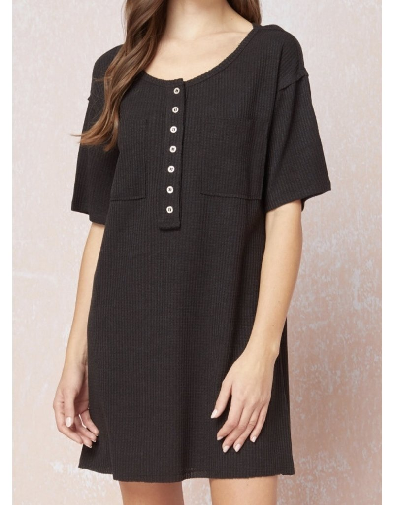 Button Detail Waffle Dress - Black