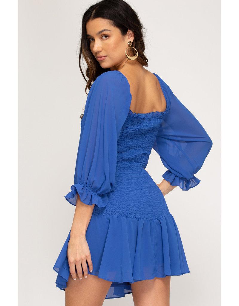 Cutout Detail Smocked Bodice Dress - Diva Blue