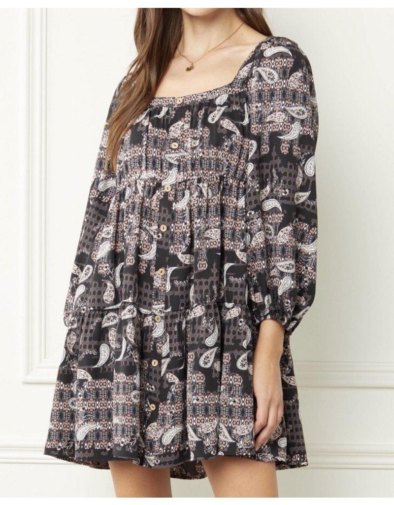 Paisley Boho Dress - Black