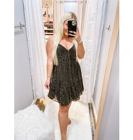 Leopard Button Detail Dress - Black