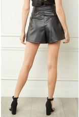 High Waist Tie Detail Pleather Shorts - Black