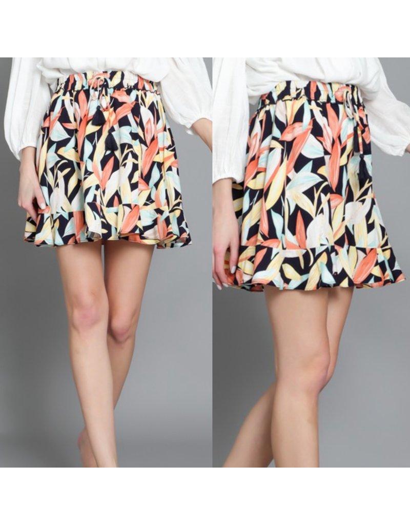Flowy Tropical Skirt - Navy
