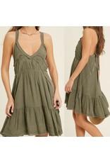 Open Back Boho Dress - Olive