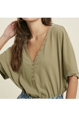 Button Detail Tee - Olive