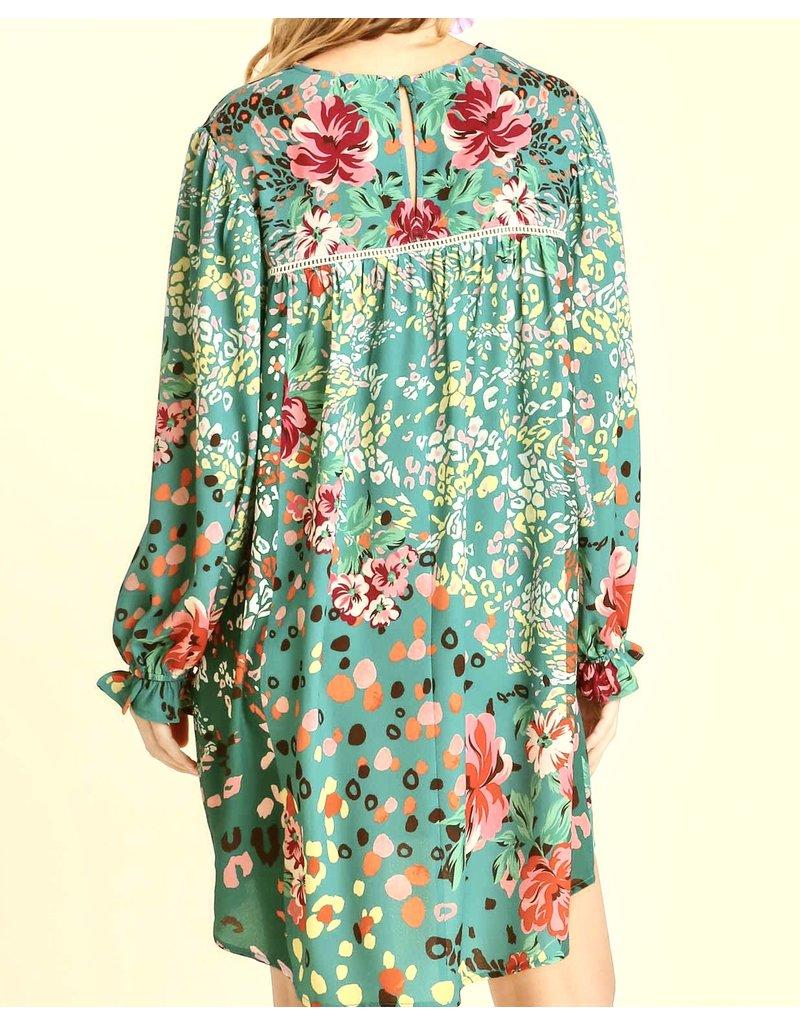 Crochet Detail Floral Dress - Green
