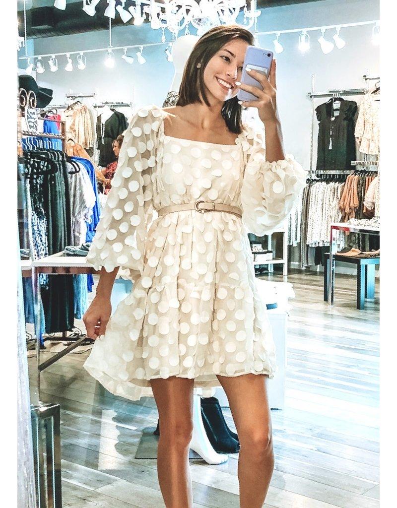 Textured Polka Dots Dress - Cream
