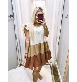 Color Block Crinkle Dress - Bronze