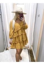 Swiss Dot Tiered Dress - Mustard