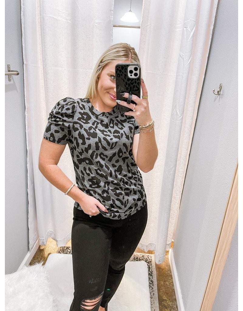 Leopard Knit Top - Charcoal