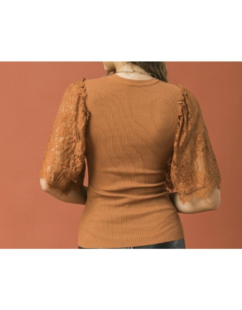 Lace Sleeves Sweater Top - Cognac