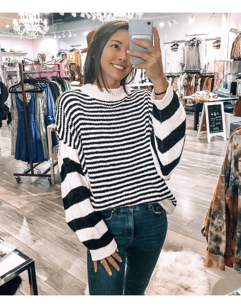 Striped Sweater - Black