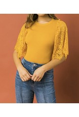 Lace Sleeves Sweater Top - Mustard