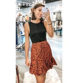 Spotted Ruffle Skirt - Rust