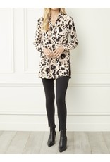 Side Slits Leopard Button Down Tunic - Brown