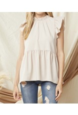 Ruffle Detail Mock Neck Top - Oyster
