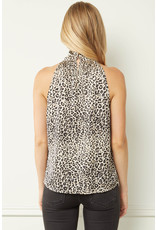 Leopard Satin Halter Top - Sand