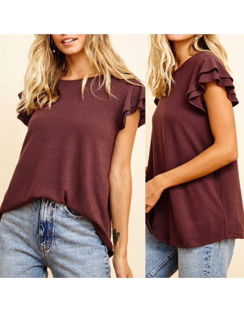 Flared Sleeves Knit Top - Brown