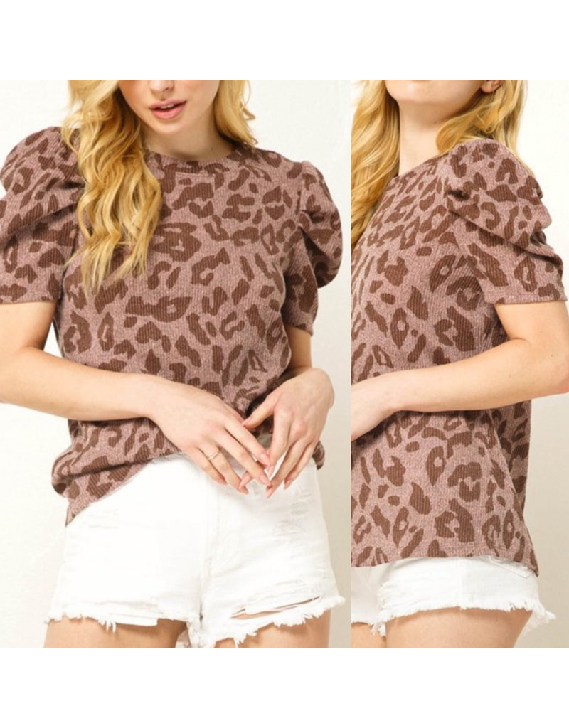 Puff Sleeves Leopard Knit Top - Mauve