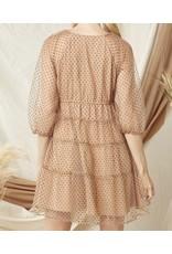Velvet Polka Dot Tiered Dress - Mocha