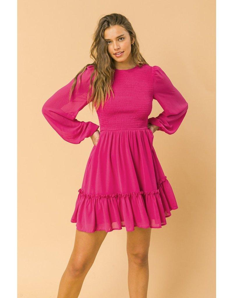 Smocked Ruffle Dress - Magenta