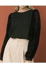 Leopard Burnout Velvet Sleeves Top - Black