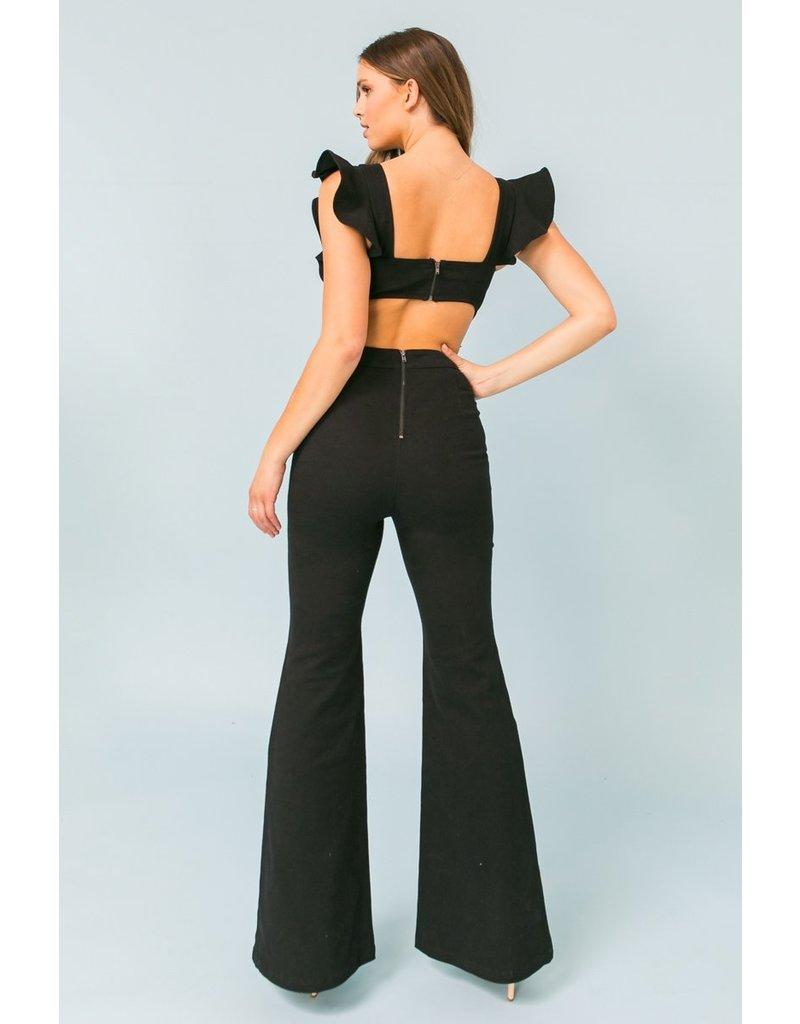 Open Back Ruffle Denim Jumpsuit - Black
