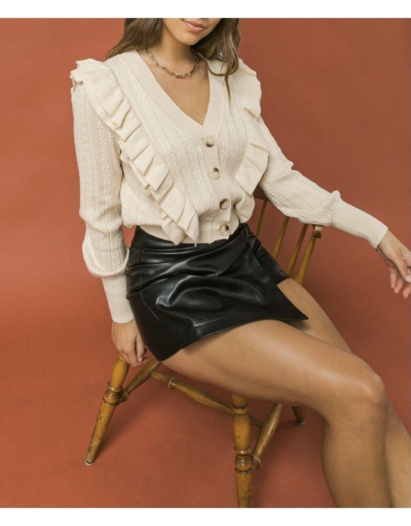 Ruffle Detail Button Down Sweater Cardigan - Beige