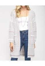 Striped Cardigan - Taupe