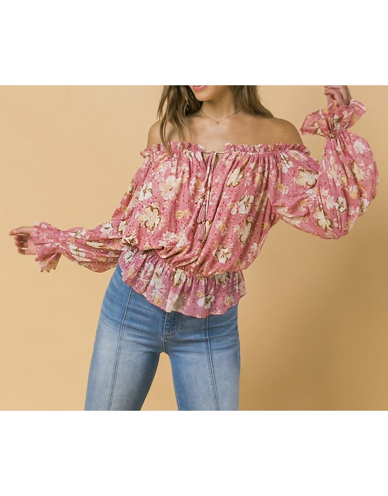 Off Shoulder Gold Speckle Floral Top - Pink