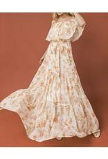 Floral Gold Dots Off Shoulders Maxi Dress - Ivory
