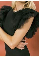 Layered Sleeves Sweater Dress - Black